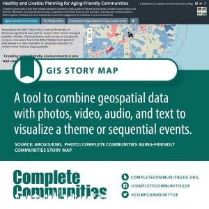 GIS Story Map: A tool to combine geospatial data with photos, video, audio, and text to visualize a theme or sequential events.