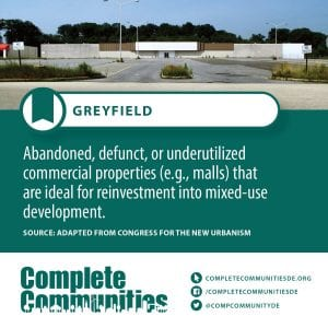 Greyfield: Abandoned, defunt, or underutilized commercial properties (e.g., malls) that are ideal for reinvesting into oriented, mixed-use development.