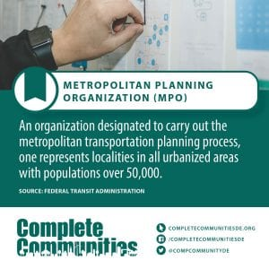 Metropolitan Planning Organization (MPO): An organization designated to carry out the metropolitan transportation planning process, one represents localities in all urbanized areas with populations over 50,000.