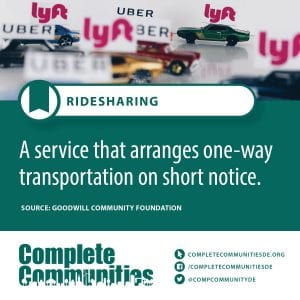 Ridesharing: A service that arranges one-way transportation on short notice.