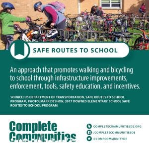 Safe Routes to School: An approach that promotes walking and bicycling to school through infrastructure improvements, enforcement, tools, safety education, and incentives.