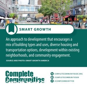 Smart Growth: An approach to development that encourages a mix of building types and uses, diverse housing and transportation options, development within existing neighborhoods, and community engagement.