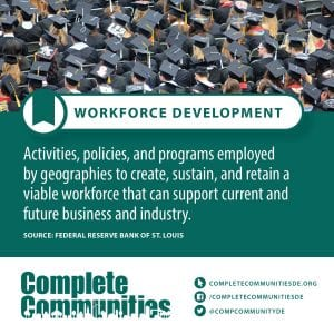 Workforce Development: Activities, policies, and programs employed by geographies to create, sustain, and retain a viable workforce that can support current and future business and industry.