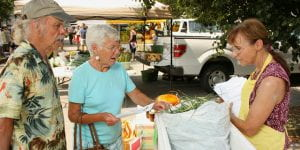 An image of seniors purchasing fresh produce at a farmers' market.