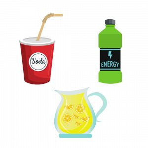 Image of three examples of sugar sweetened beverages: lemonade, soda, and an energy drink.