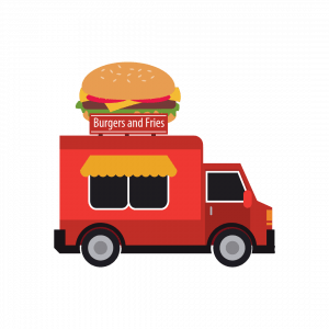 Image of a food cart selling burgers