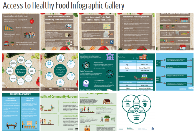 Screenshot of the webpage of the access to healthy food infographic gallery.