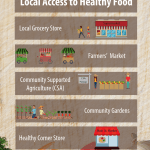 An infographic illustrating five common local food access sources. The sources include a local grocery store, a farmers' market, community supported agriculture, a community garden, and a healthy corner store.