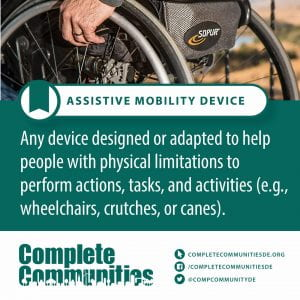Assistive Mobility Device. Any device designed or adapted to help people with physical limitations to perform actions, tasks, and activities (e.g., wheelchairs, crutches, or canes).
