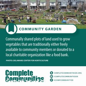 Community Garden. Communally shared plots of land used to grow vegetables that are traditionally either freely available to community members or donated to a local charitable organization like a food bank.