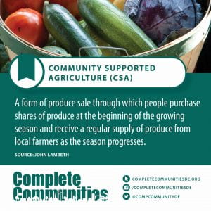 Community Supported Agriculture (CSA). A form of produce sale through which people purchase shares of produce at the beginning of the growing season and receive a regular supply of produce from local farmers as the season progresses.