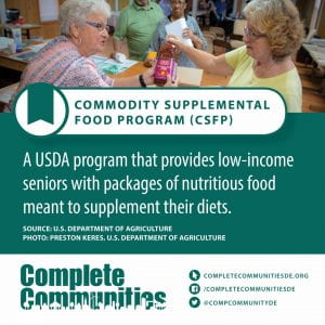 Commodity Supplemental Food Program. A USDA program that provides low-income seniors with packages of nutritious food meant to supplement their diets.