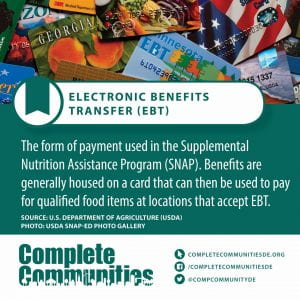 Electronic Benefits Transfer. The form of payment used in the Supplemental Nutrition Assistance Program (SNAP). Benefits are generally housed on a card that can then be used to pay for qualified food items at locations that accept EBT.