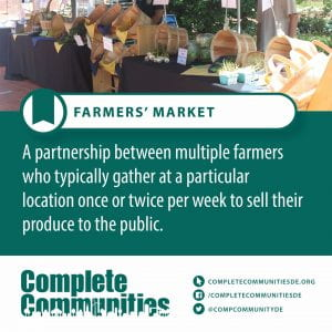 Farmers Market. A partnership between multiple farmers who typically gather at a particular location once or twice per week to sell their produce to the public.