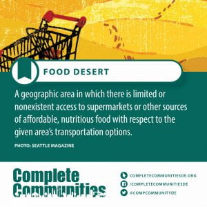 Food Desert. A geographic area in which there is limited or nonexistent access to supermarkets or other sources of affordable, nutritious food with respect to the given area's transportation options.