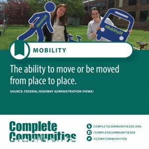 Mobility. The ability to move or be moved from place to place.