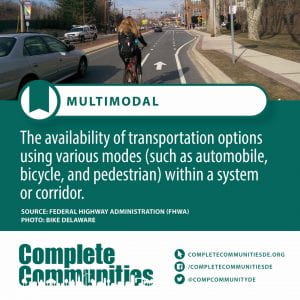 Multimodal. The availability of transportation options using various modes (such as automobile, bicycle, and pedestrian) within a system or corridor.