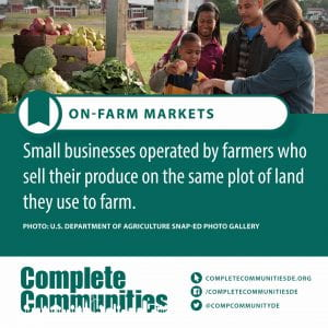 On Farm Markets. Small businesses operated by farmers who sell their produce on the same plot of land they use to farm.