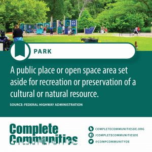 Park. A public place or open space area set aside for recreation or preservation of a cultural or natural resource.