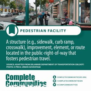 Pedestrian Facility. A structure (e.g., sidewalk, curb ramp, crosswalk), improvement, element, or route located in the public-right-of-way that fosters pedestrian travel.