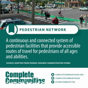Pedestrian Network. A continuous and connected system of pedestrian facilities that provide accessible routes of travel for pedestrians of all ages and abilities.