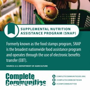 Supplemental Nutrition Assistance Program (SNAP). Formerly known as the food stamps program, SNAP is the broadest nationwide food assistance program and operates through the use of electronic benefits transfer (EBT).