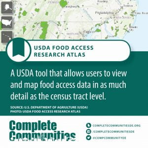 USDA Food Access Research Atlas. A USDA tool that allows users to view and map food access data in as much detail as the census tract level.