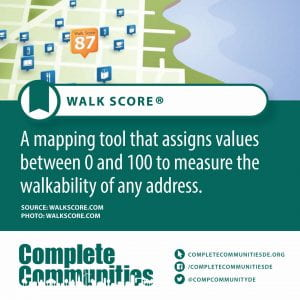 Walk Score. A mapping tool that assigns values between 0 and 100 to measure the walkability of any address.