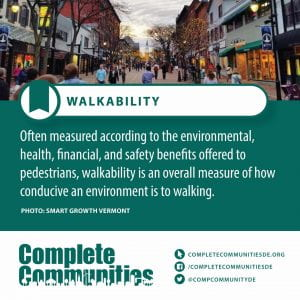 Walkability. Often measured according to the environmental, health, financial, and safety benefits offered to pedestrians, walkability is an overall measure of how conducive an environment is to walking.