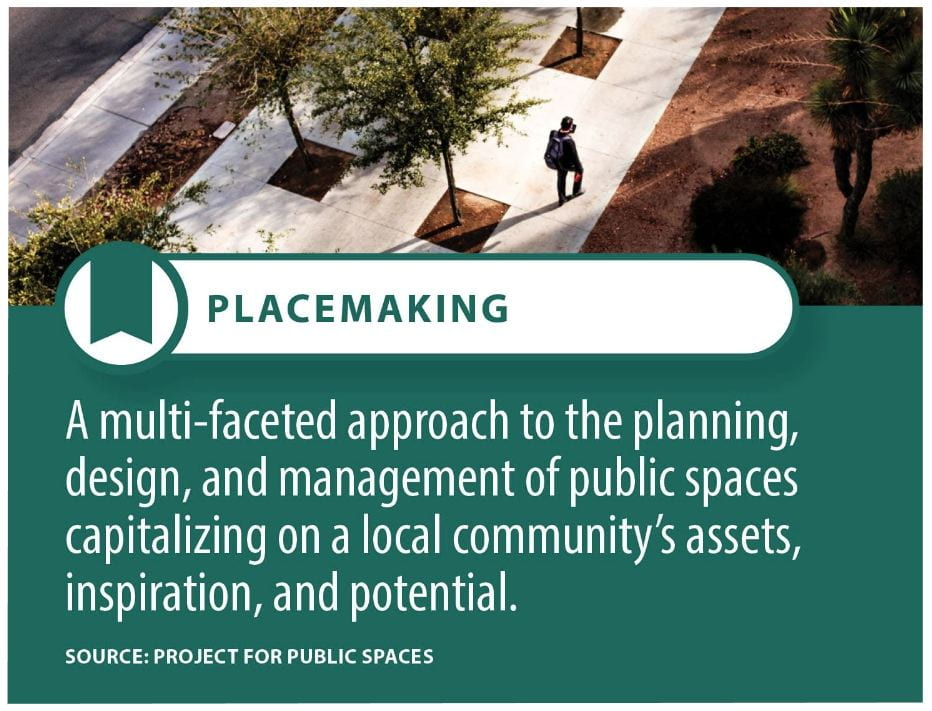 Placemaking is defined as a multi-faceted approach to the planning, design, and management of public spaces, capitalizing on a local community's assets, inspiration, and potential.