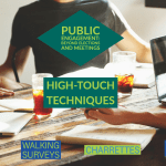 Infographic describing high-touch techniques for public engagement.