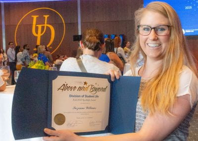 Suzanne Williams received a 2018 UD Student Life Spotlight Award for her positive, dedicated, and efficient contributions to the University Student Centers