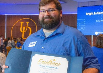 Matthew Creasy accepted a 2019 UD Student Life Bright Initiative Award for the University Student Centers