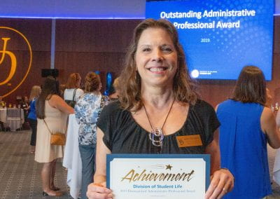 Kathy Parlamenti was named a 2019 UD Student Life Distinguished Administrative Professional for her compassionate, disarming and attentive care of students in her role with Student Wellness and Health Promotion