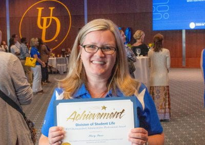 Stacy Purse was named a 2019 UD Student Life Distinguished Administrative Professional for her discipline, extraordinary commitment, and model leadership in her role with the UD Career Center