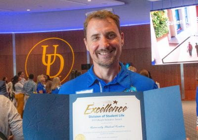 Steve Kramarck accepted a 2019 UD Student Life Bright Initiative Award for the University Student Centers