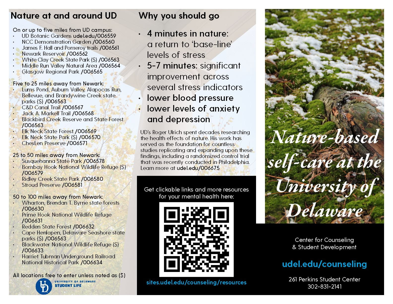 first page of nature based self care brochure linked as pdf