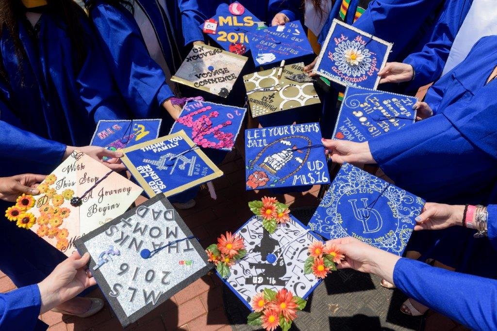 Decorated mortarboards from the Class of 2016