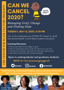 flyer for Can We Cancel 2020 workshop on May 12 2020