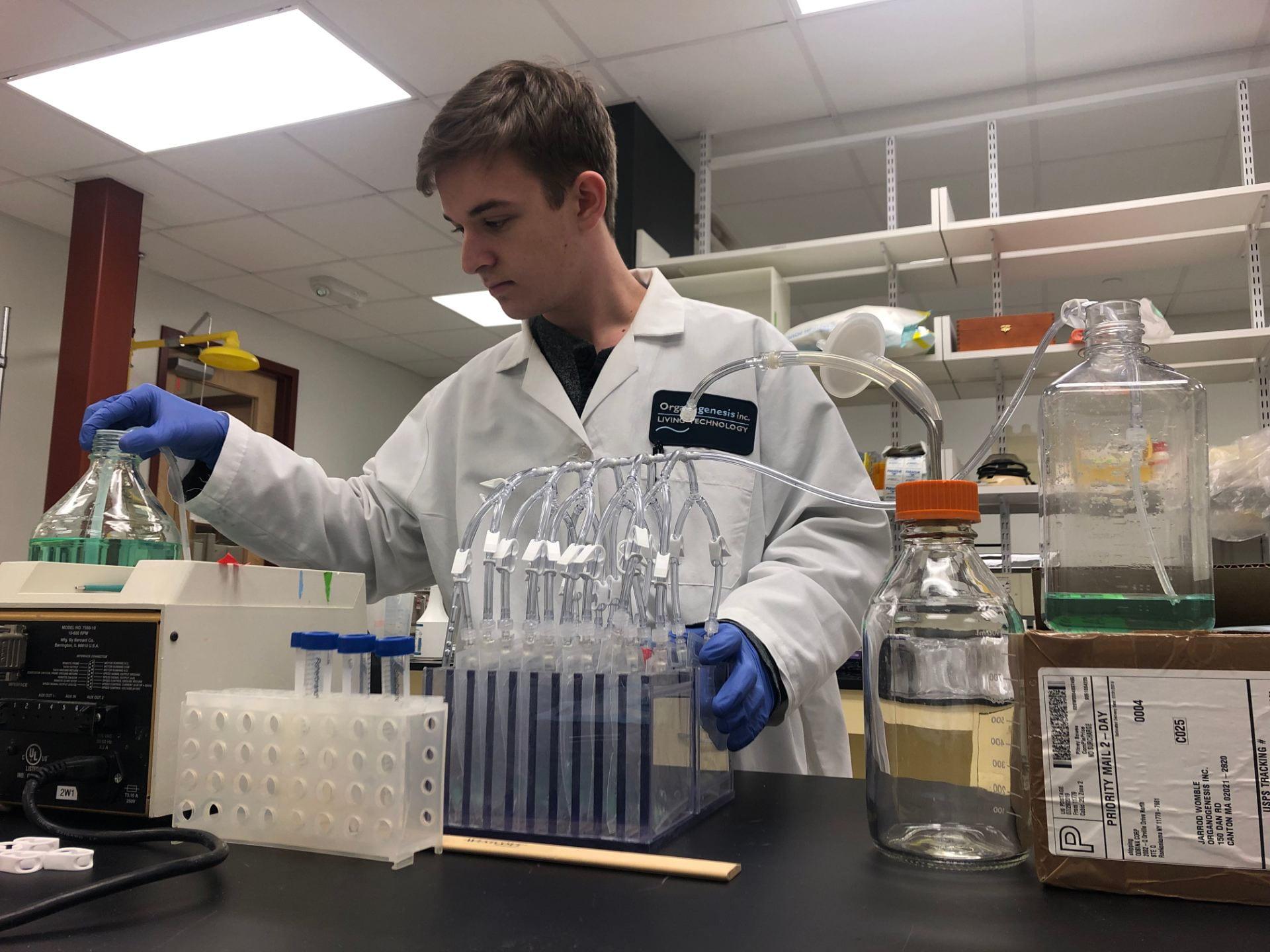 Geoffrey Bonnanzio '22 at his internship with Organogenesis