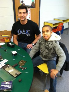 Andrew Villari volunteering at Thurgood Marshall Elementary.