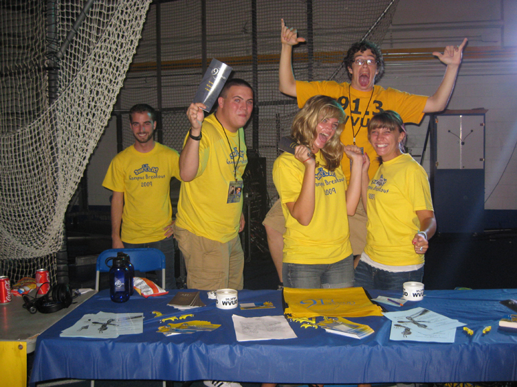 WVUD staffers; Mike Nigro, Kevin Collins, Colleen McGregor, John Gardner, and Kate Seymour representin'at Campus Breakout!