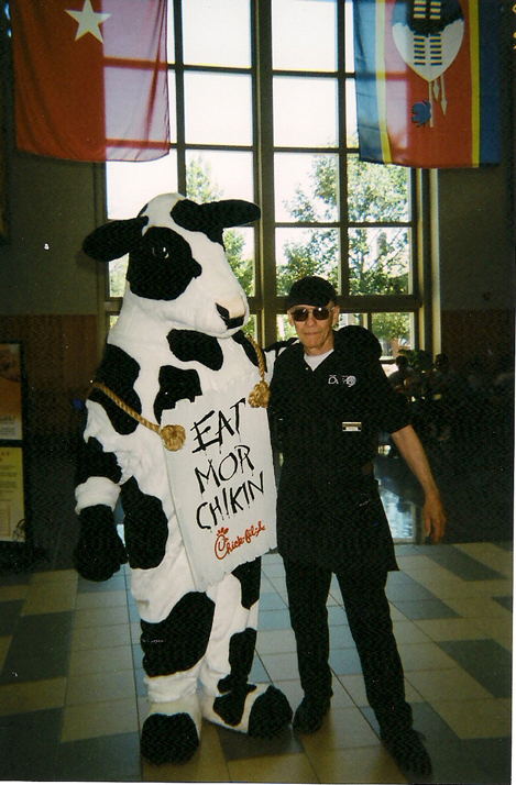 Larry Carr meets the fast food cow.