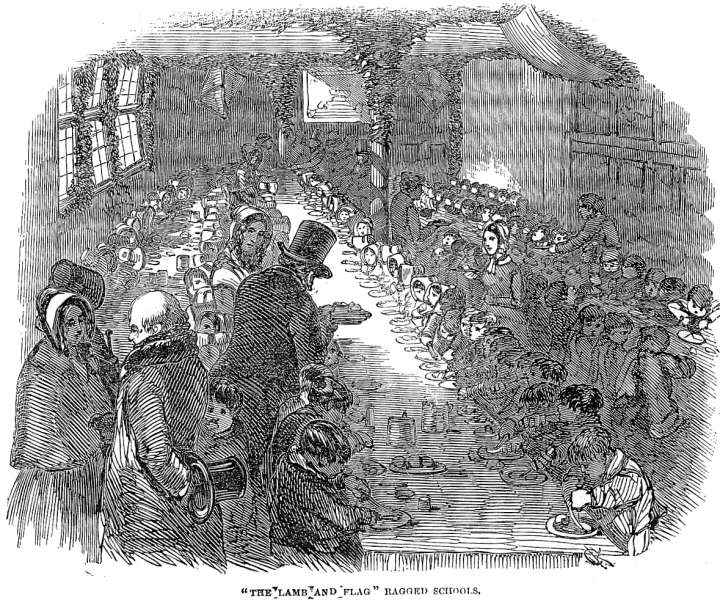"""""""The Lamb and Flag"""" Ragged Schools. Illustrated London News 6 January 1849, p. 12. Scanned image, caption information, and text by Philip V. Allingham."""