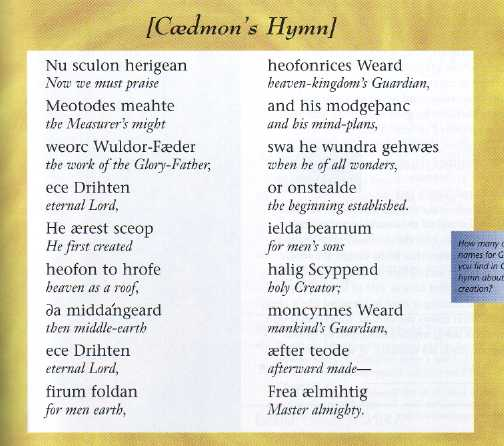 'Caedmon's Hymn' in Old English, accompanied by translated lines of Modern English.