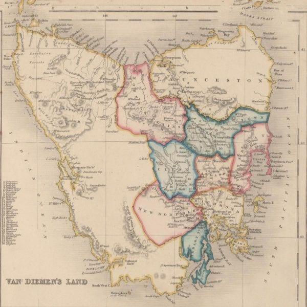 Van Diemen's Land map, 1852