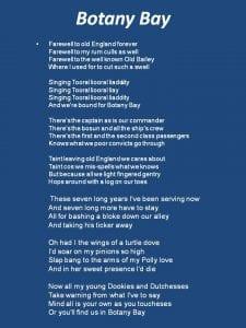Botany Bay song lyric