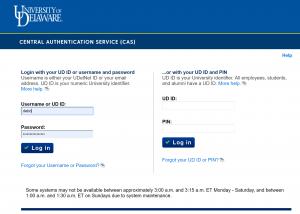 CAS authetication page