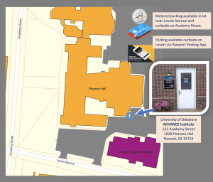 Map to University of Delaware ADVANCE Office