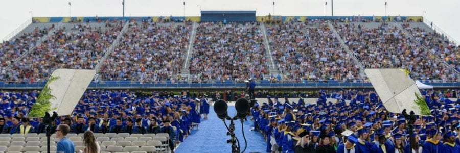 Picture of Commencement crowd from the perspective of the podium